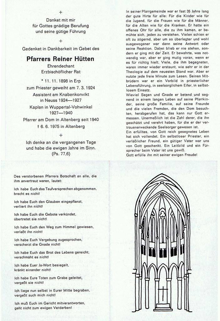 Totenzettel Hütten, Reiner † 06.06.1975