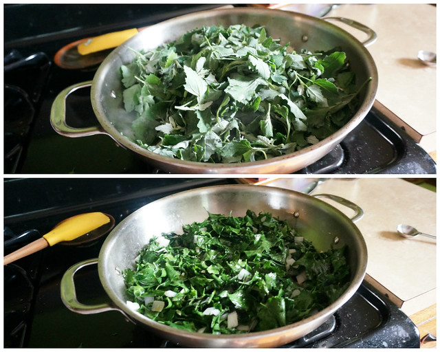 A collage: on top, fresh lambsquarters just added to a pan; on the bottom, the same lambsquarters now wilted and much smaller