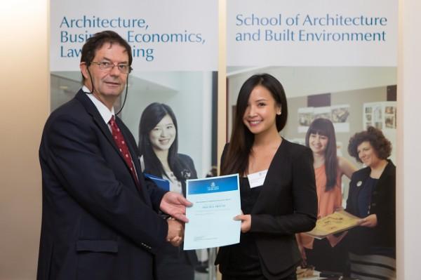 2013 Winner: Mia Truong Presented by Prof George Zillante (Head of School)