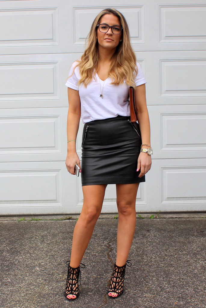 White Shirt Leather Skirt - Dress Ala