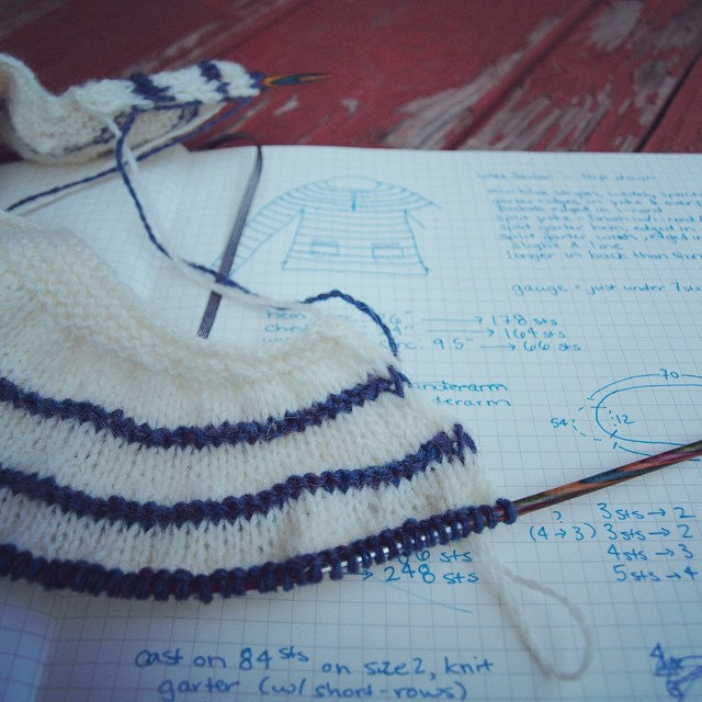 I started a new sweater (of my own design, for M) yesterday.
