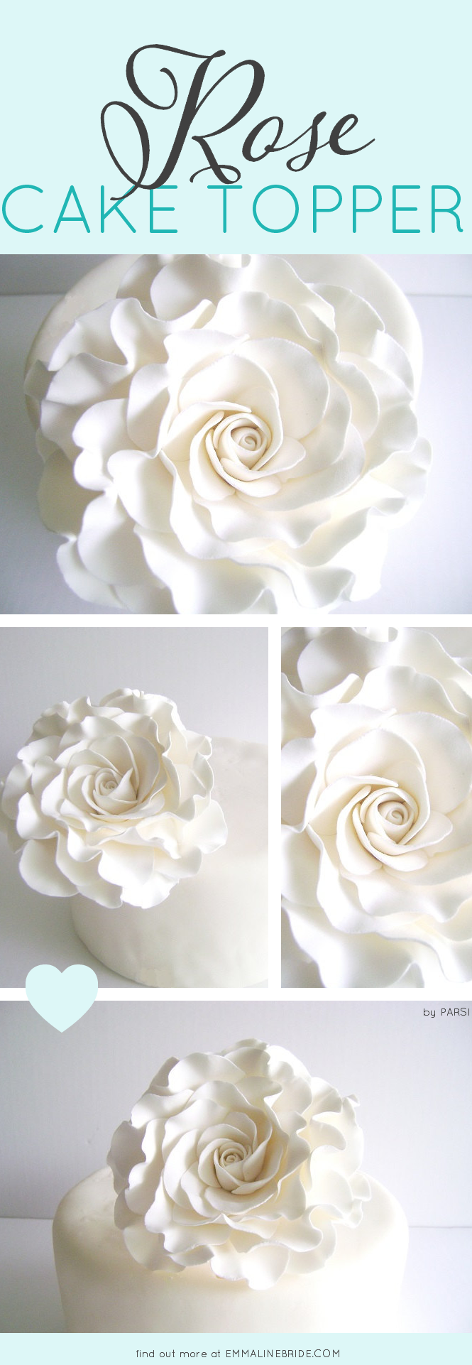Rose Cake Topper | by Parsi | https://emmalinebride.com/2016-giveaway/rose-cake-topper/