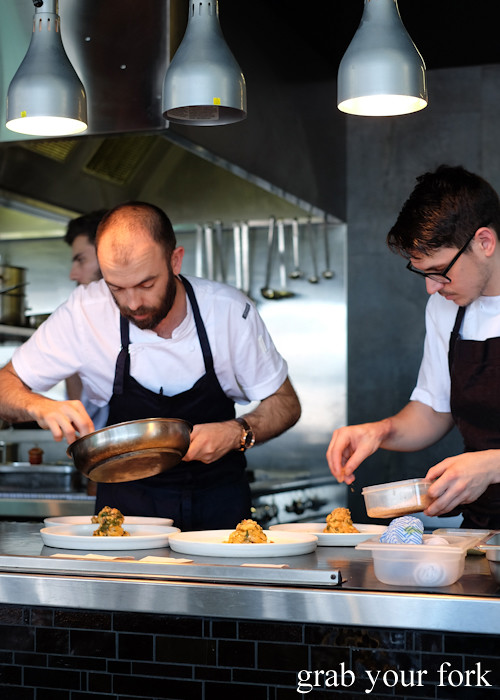 Chef Federico Zanellato in the kitchen at LuMi Dining in Pyrmont Sydney