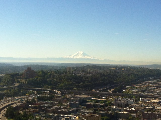 Mt Rainier Rises Above Seattle