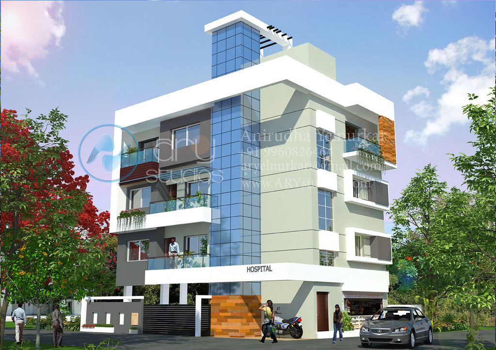 3d apartmentl rendering architectural day view realistic Arch design indian home plans