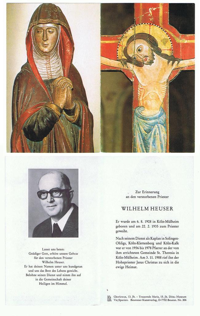 Totenzettel Heuser, Wilhelm † 03.11.1988