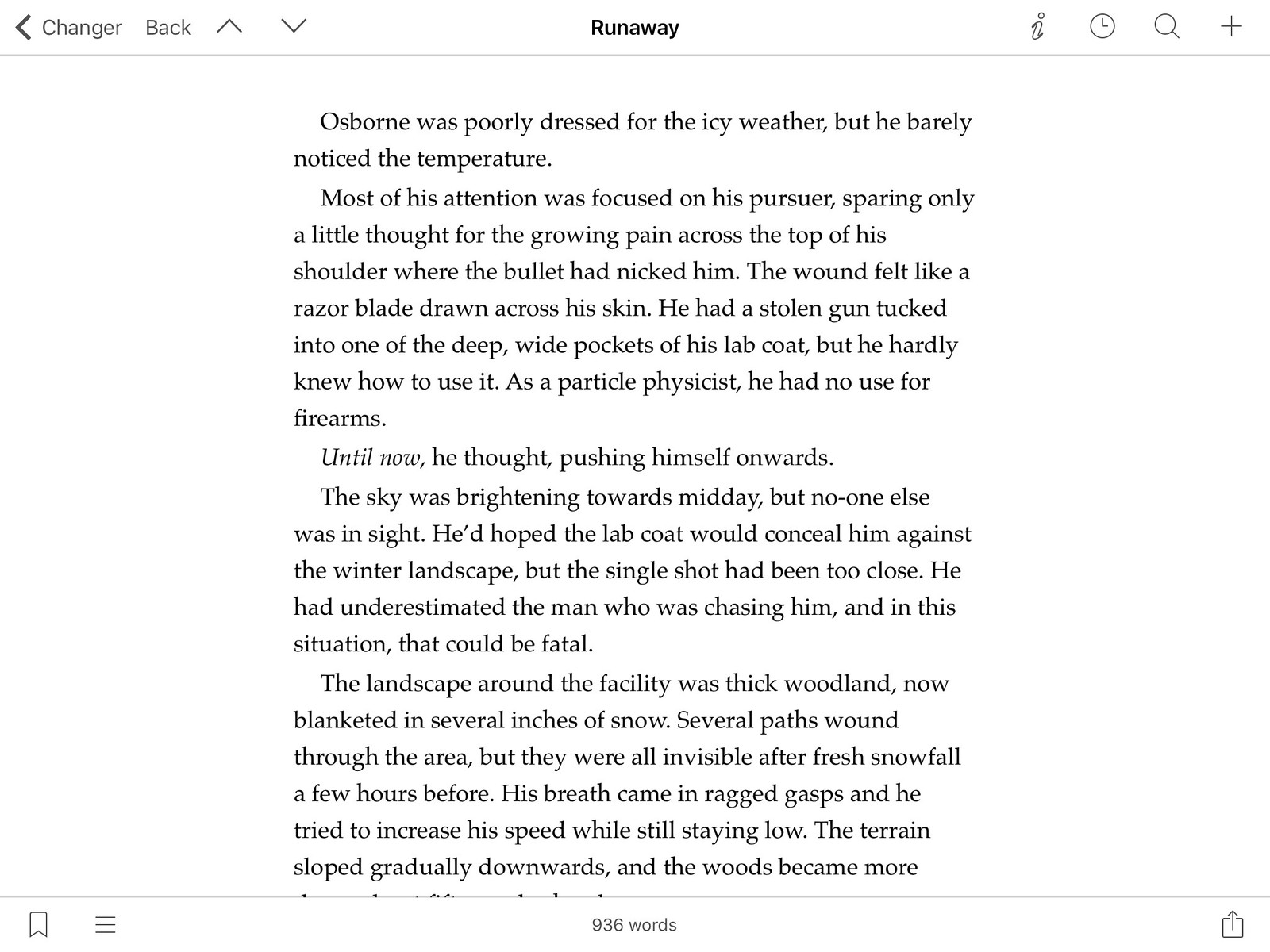 Scrivener on iPad, in full screen editing mode