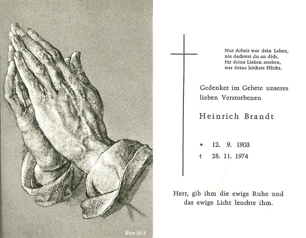 Totenzettel Brandt, Heinrich † 28.11.1974