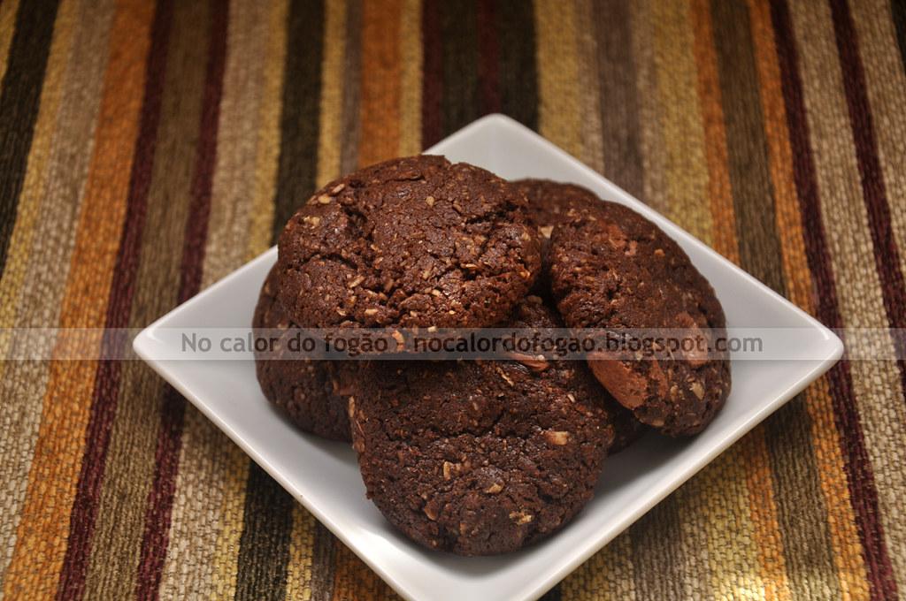 Cookies de chocolate, aveia e coco