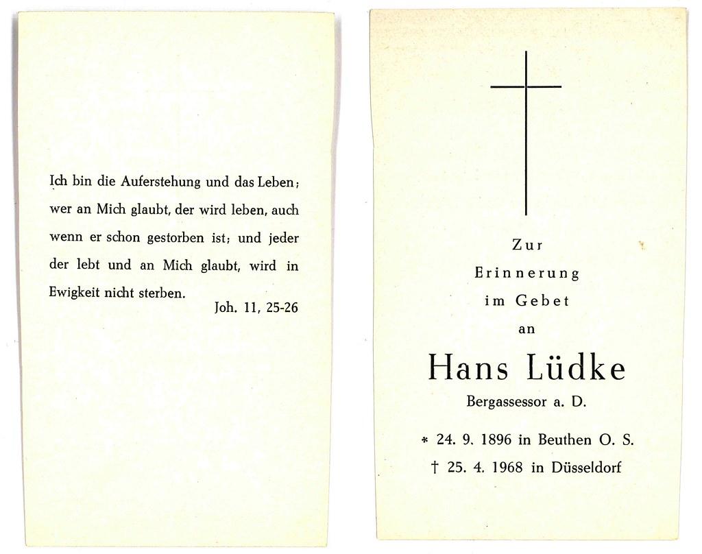 Totenzettel Lüdke, Hans † 25.04.1968