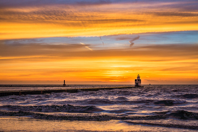 Sunrise, Lighthouse, Lake Michigan, Kewaunee, WI