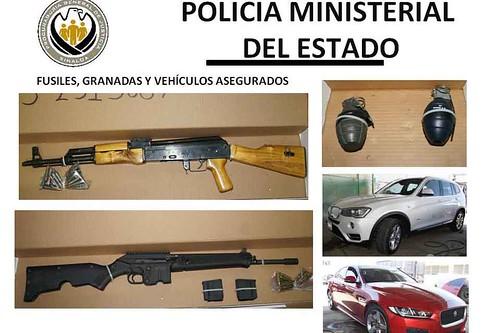 IAseguran dos fusiles y granadas