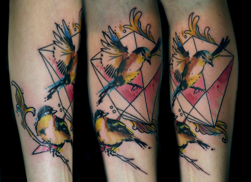 Geometric Watercolor Bird Tattoo I Tattoo At Tattoo