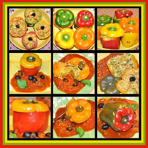 Kunterbunt und farbenfroh essen ... Gefüllte Paprikaschoten mit Reis ... vegetarisches Hauptgericht ... Fotos und Collagen: Brigitte Stolle 2016