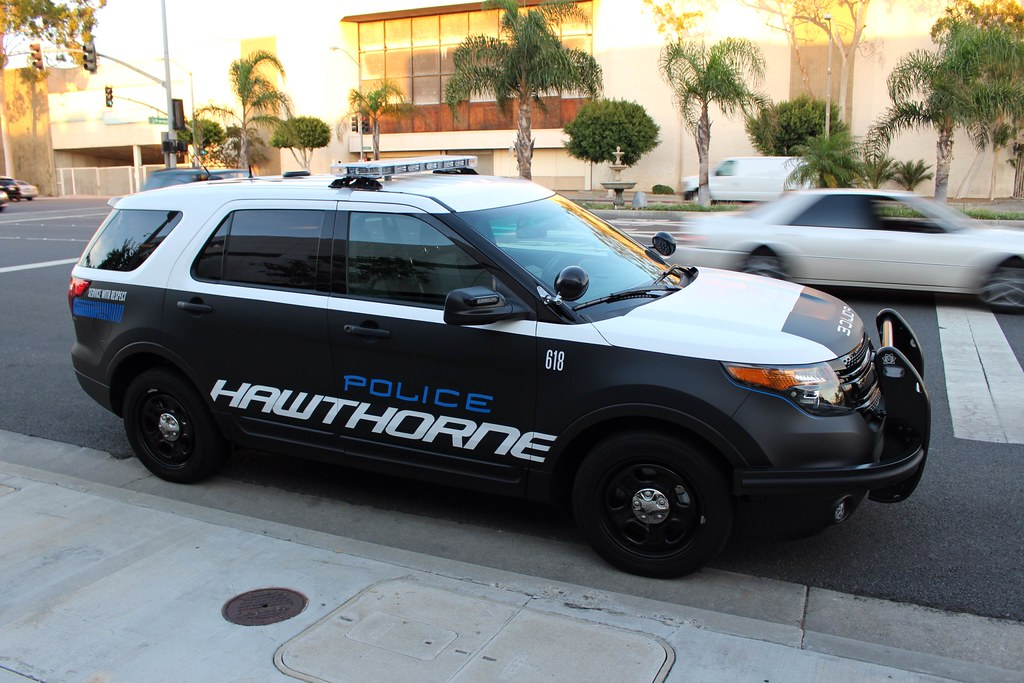 Hawthorne Police Matte Black Ford Explorer In
