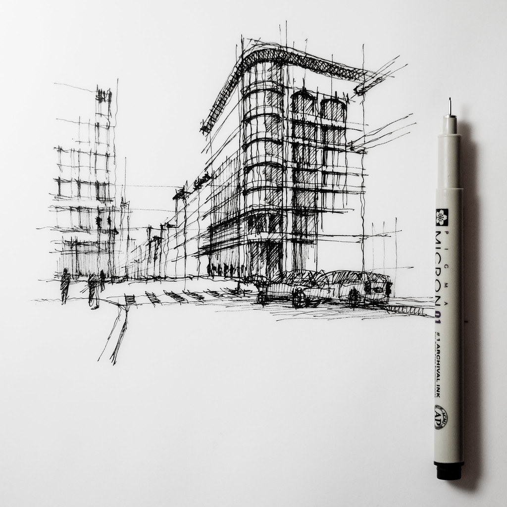 Street Corner Unfinished Sketch Cityscape Drawing