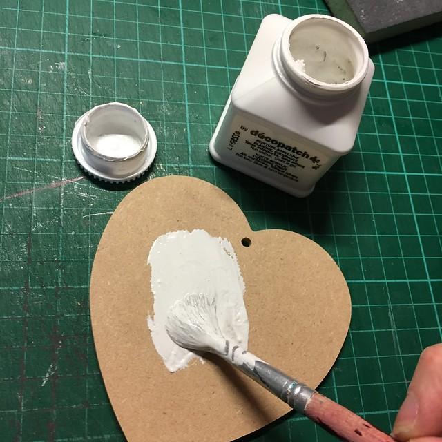 Handmade Christmas Decoration – Decoupaged Heart by StickerKitten. Step 1: Paint the heart white.