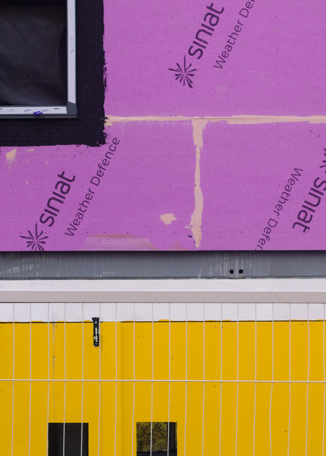 purple and yellow cladding