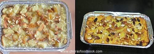 Eggless bread pudding recipe