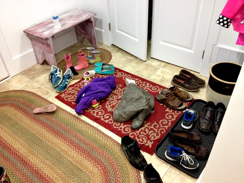 messy mudroom