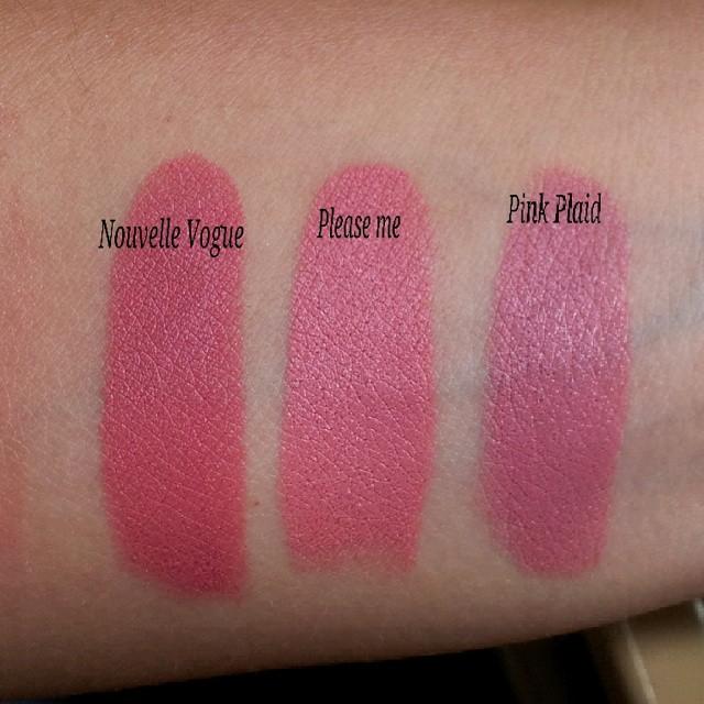 MAC, Matte, lipstick, swatches, Please Me, Pink Plaid ...  Mac Pink Plaid Vs Please Me