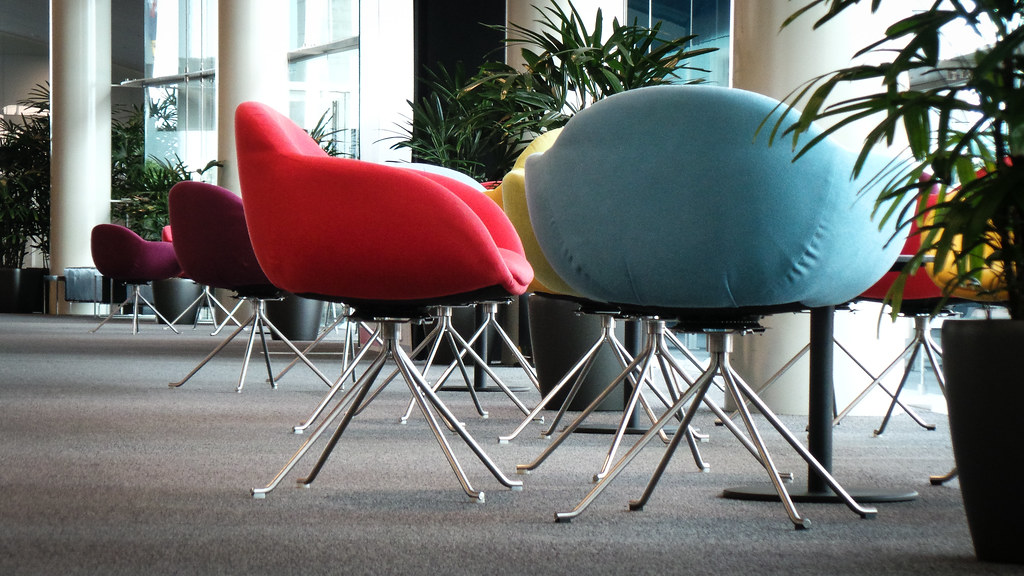 Foyer Chair Jobs : Pretty chairs brightly coloured in the foyer of