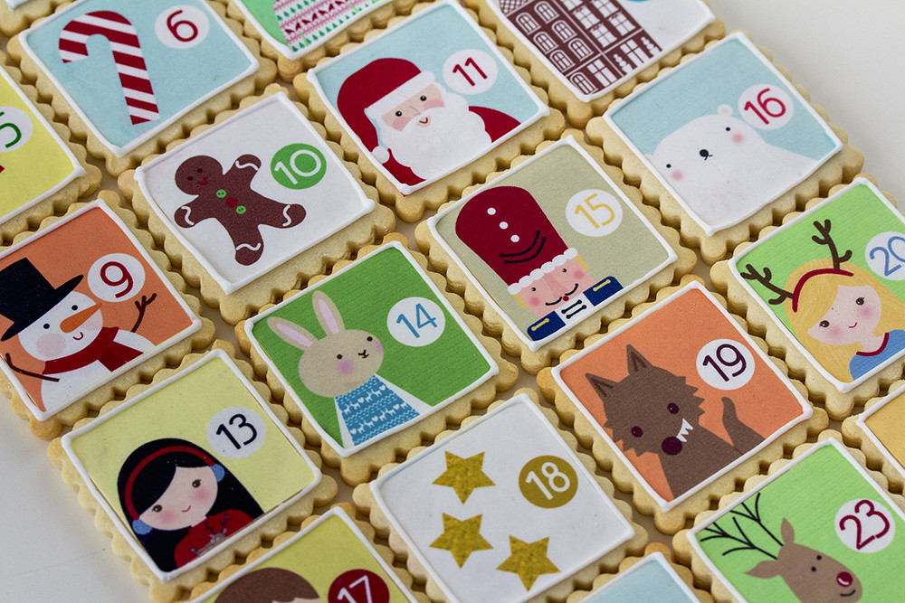 Galletas decoradas calendario adviento