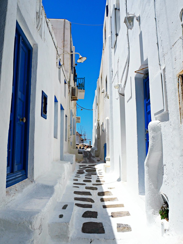 Mykonos blue and white streets 1