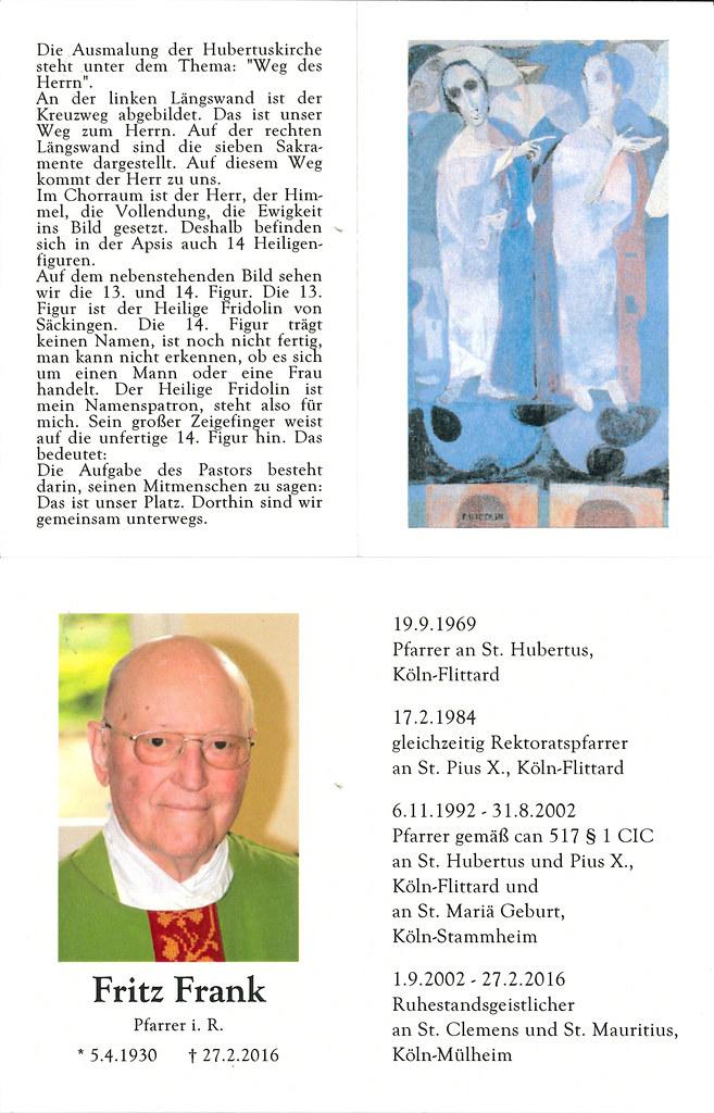 Totenzettel Frank, Fritz - Pfarrer an St.Hubertus in Flittard † 27.02.2016