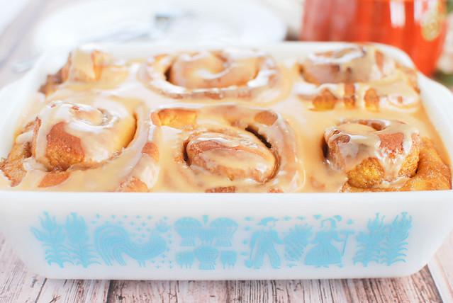 Pumpkin Cinnamon Rolls with Butterscotch Glaze