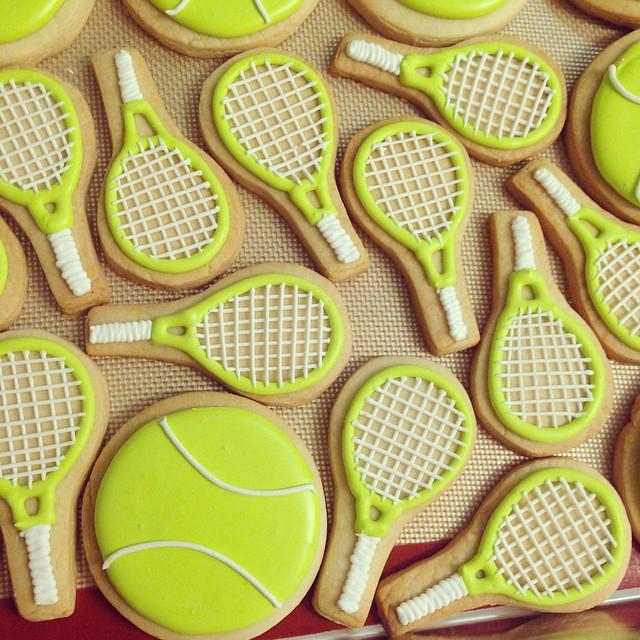 Tennis Racket And Tennis Ball Sugar Cookies Polkadotscupc