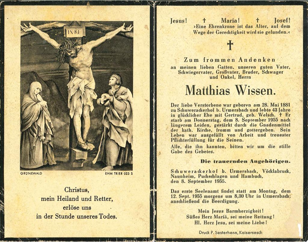 Totenzettel Wissen, Matthias † 08.09.1955