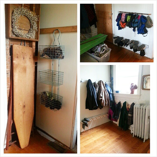 Thanks to pinterest, our mudroom is clean and tidy. Copper pipe and curtain rings hanging mittens and hats, boot racks to hang boots, coat hooks for everyone and bins for ski boots and little kiddo mittens.