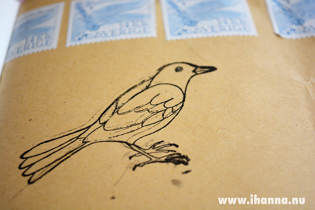Tangled Pen Bird Stamp stamped by iHanna