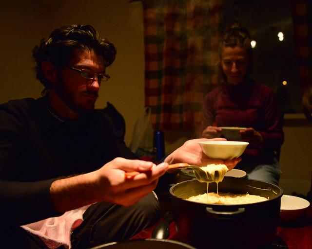 Cenando sopa en Tromso, antes de ver auroras boreales por la península de Kvaloya