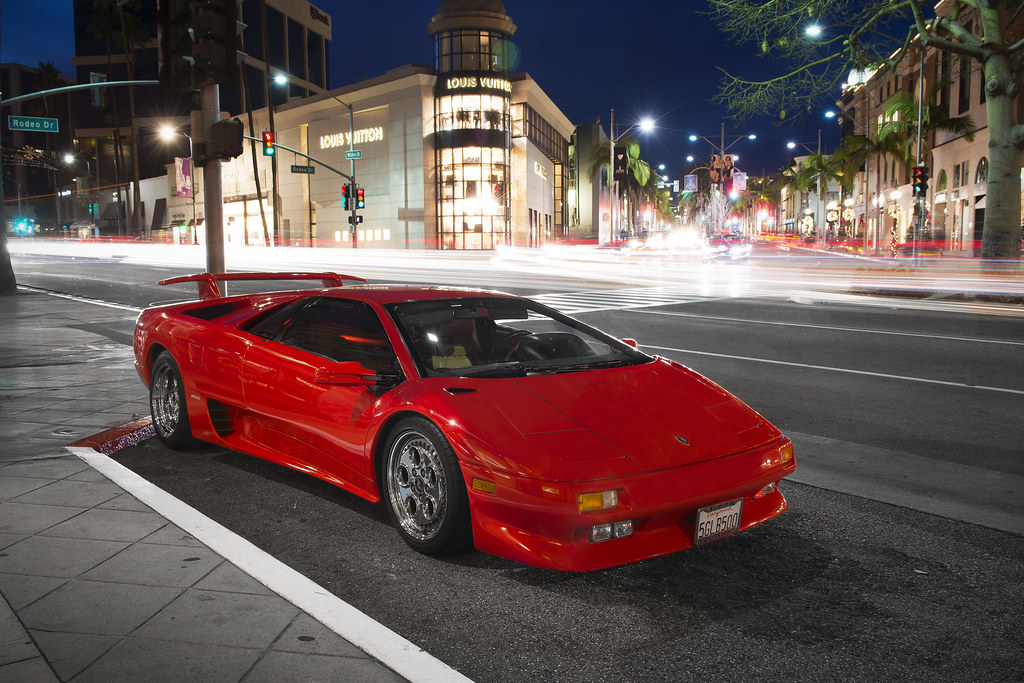 Red Lamborghini Diablo At Night Red Lamborghini Diablo