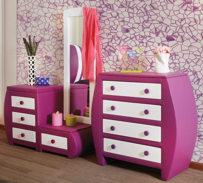 Muebles placencia tocador con espejo cajonera ovalada mora for Espejos para habitaciones juveniles