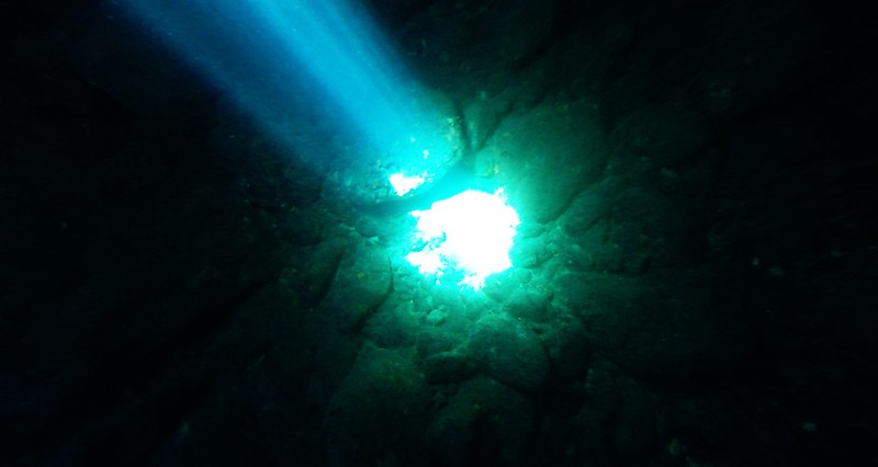 Green Cave, island Vis, light beam at the sea bottom, Croatia 2