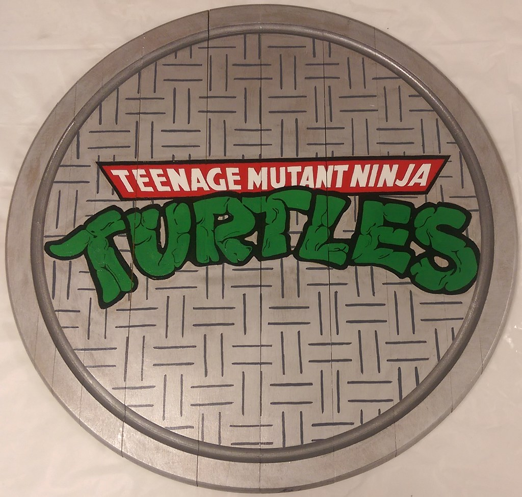 tmnt manhole cover acrylic on 20quot reclaimed wooden lazy