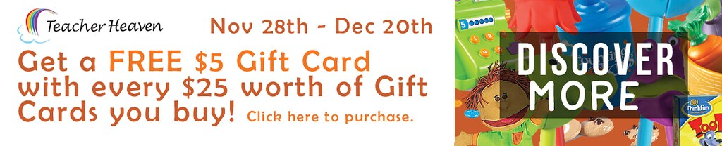 Nov 28th - Dec 20th Get a FREE $5 Gift Card with every $25 worth of Gift Cards you buy! Click here to purchase.