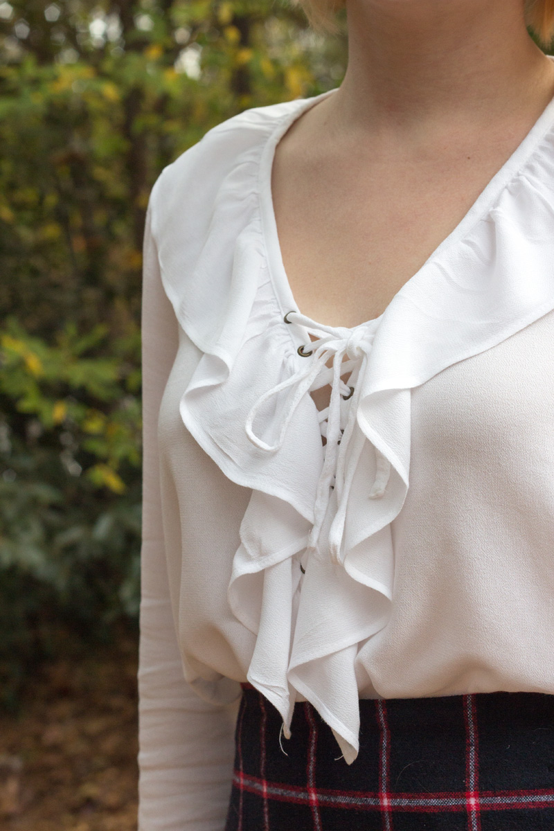Forever 21 White Ruffled and Lace Up Shirt Detailing