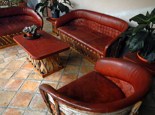 Traditional Mexican leather furniture in the lobby of a San Sebastian hotel, Mexico
