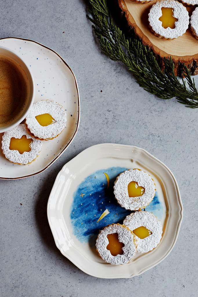 Lemon Pistachio Linzer Cookies