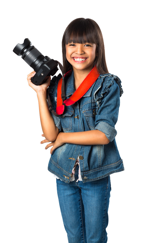 Smiling Young Asian Girl Holding Photo Camera  Smiling -1872