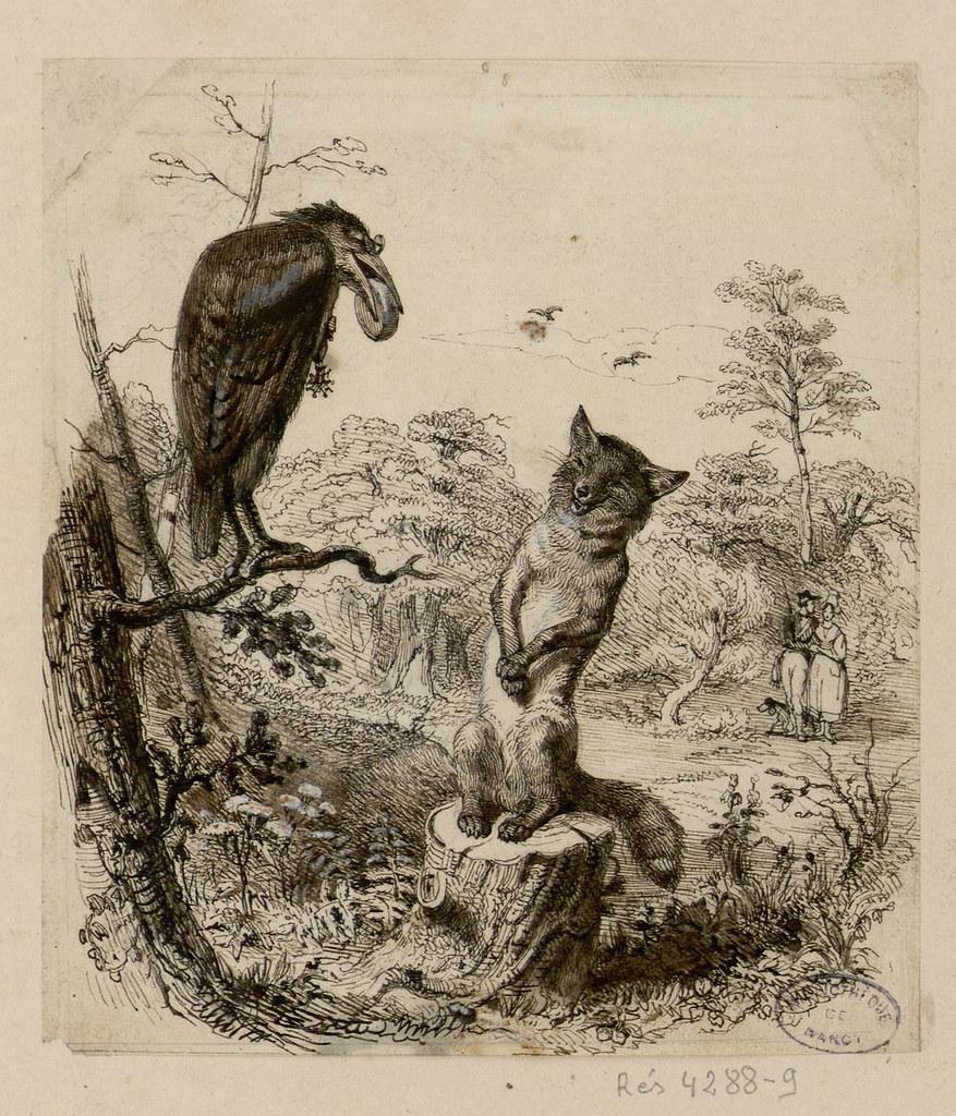 Le corbeau et le renard les fables de la fontaine dessin flickr - Coloriage le corbeau et le renard ...