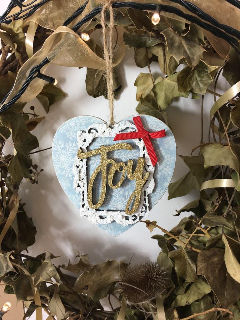 Handmade Christmas Decoration – Decoupaged Heart by StickerKitten. Christmas wreath display
