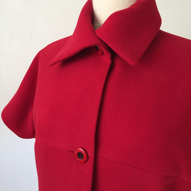 red vest collar closeup