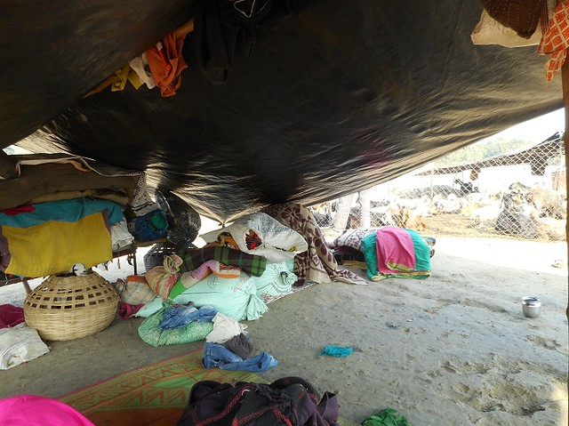 Dhangar families have very little possession which they carry from one place to another. At times, small temporary tents are made in the fields to keep their possessions and accommodate women and children at night.