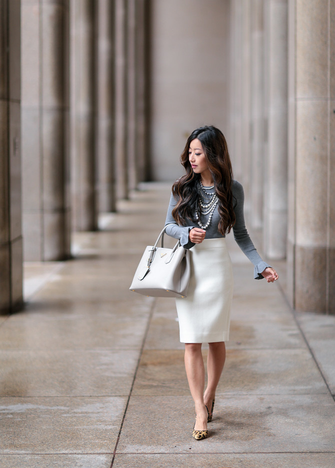 fall work outfit white pearls ruffle gray sweater