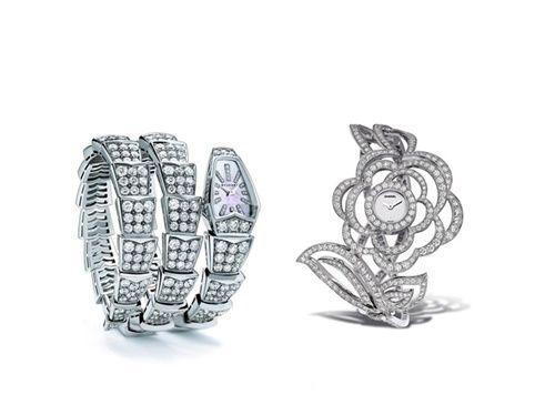 Left: 2012 jewelry Bulgari Serpenti watch right: Chanel Camellia diamonds watch
